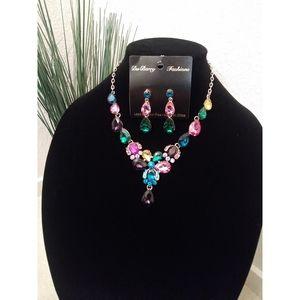 Multi color teardrop rhinstones jewelry set